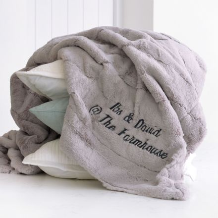 Personalised Luxury Large Super Soft Grey Blanket